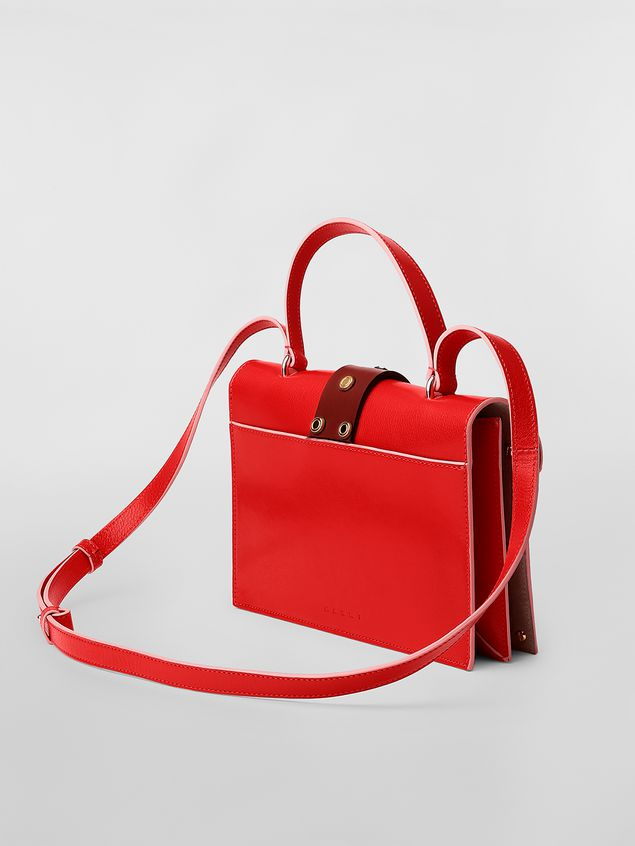Marni PUNCH bag in red and brown leather  Woman - 3