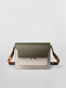 Marni TRUNK bag in smooth calf green white and brown Woman