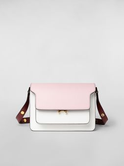 Marni TRUNK bag in pink, white and burgundy saffiano calfskin  Woman