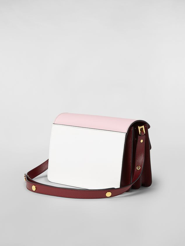Marni TRUNK bag in saffiano calfskin pink white and burgundy Woman