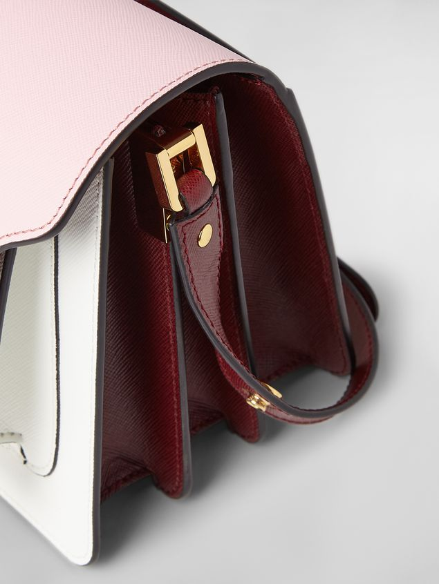 Marni TRUNK bag in saffiano calfskin pink white and burgundy Woman - 5