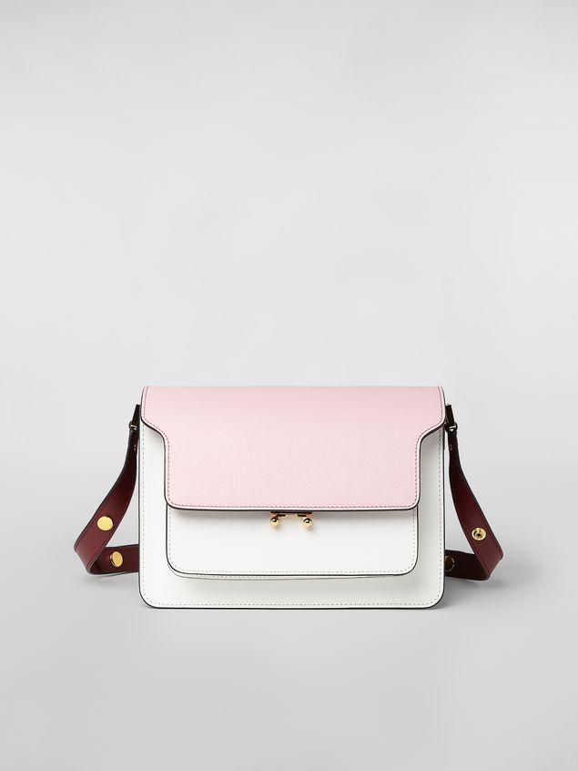 Marni TRUNK bag in saffiano calfskin pink white and burgundy Woman - 1