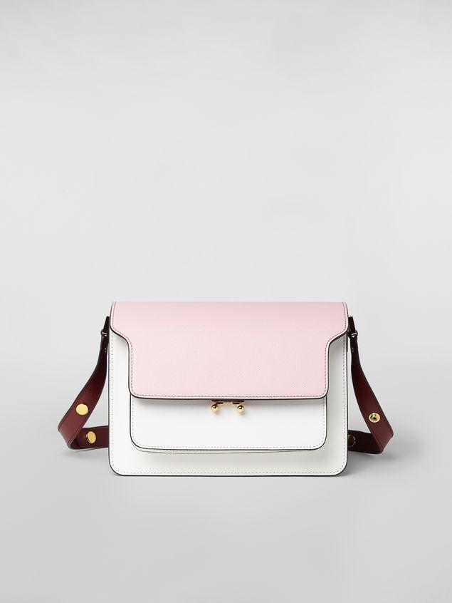 Marni TRUNK bag in pink, white and burgundy saffiano calfskin  Woman - 1