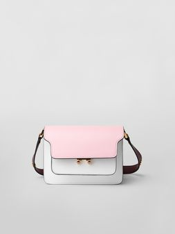 Marni TRUNK minibag in saffiano leather pink white and burgundy Woman