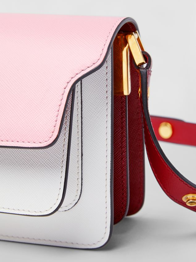 Marni TRUNK minibag in pink, white and burgundy saffiano leather  Woman - 5