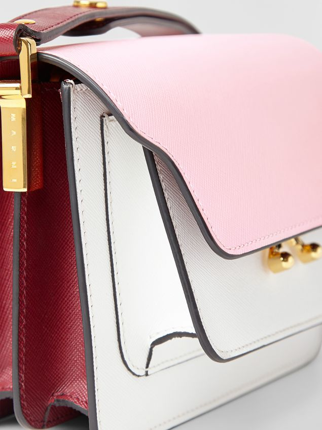 Marni TRUNK minibag in pink, white and burgundy saffiano leather  Woman - 2