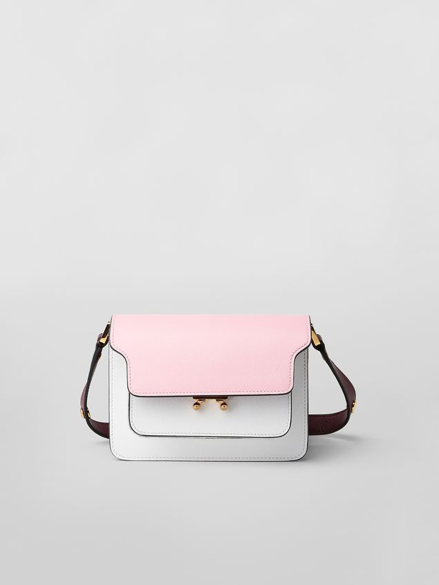 Marni TRUNK minibag in pink, white and burgundy saffiano leather  Woman - 1