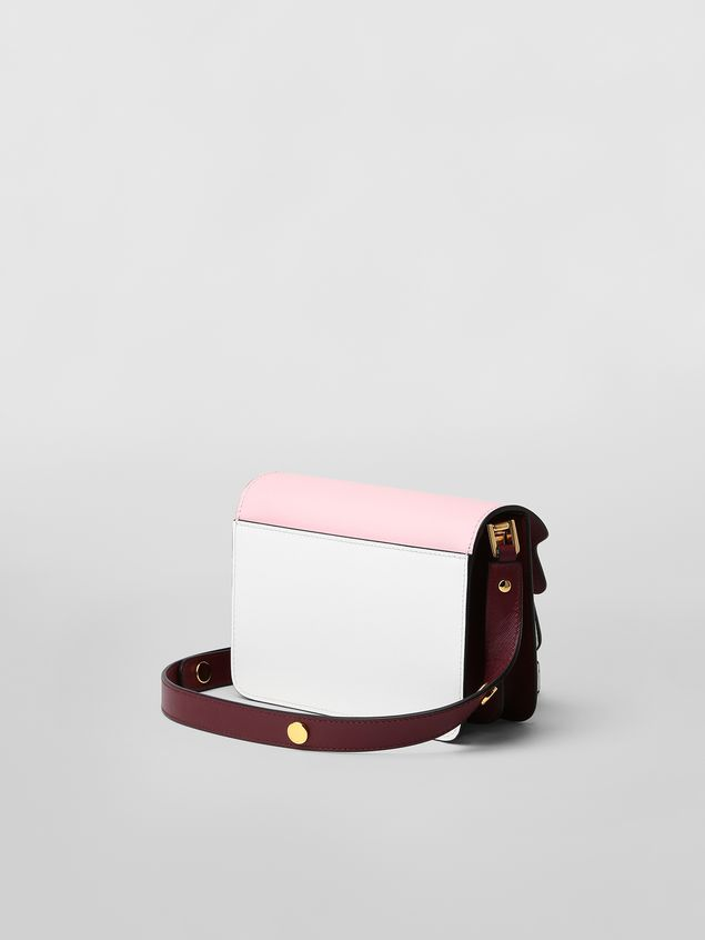 Marni TRUNK minibag in pink, white and burgundy saffiano leather  Woman - 3