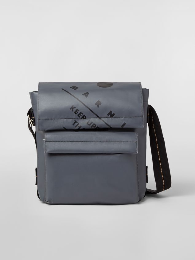 Marni Shoulder bag in coated PVC gray Man - 1