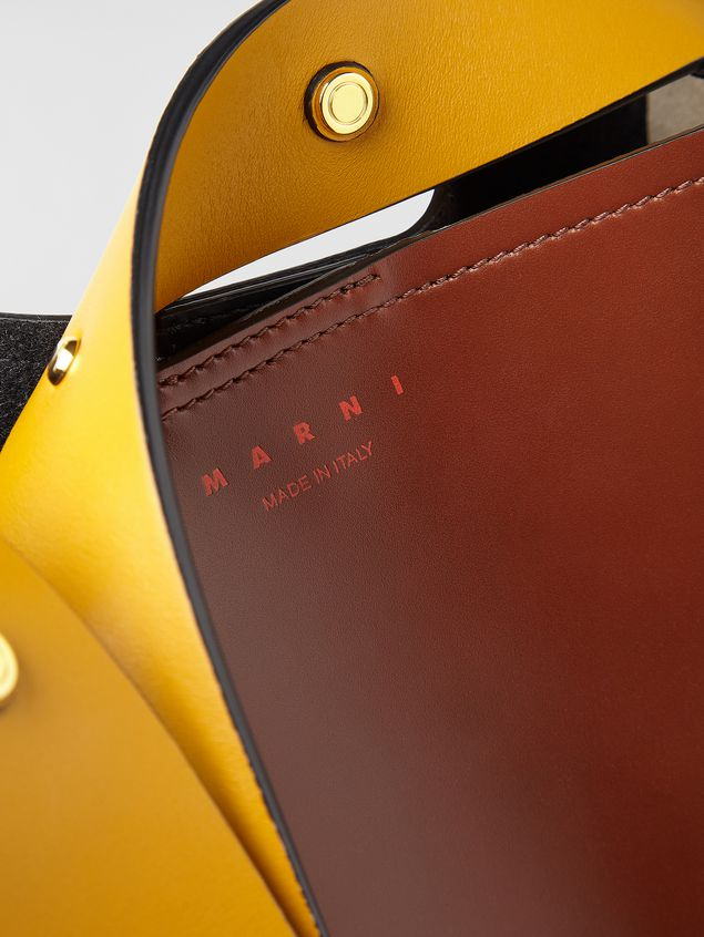 Marni PUNCH bag in brown, yellow and black leather  Woman - 5