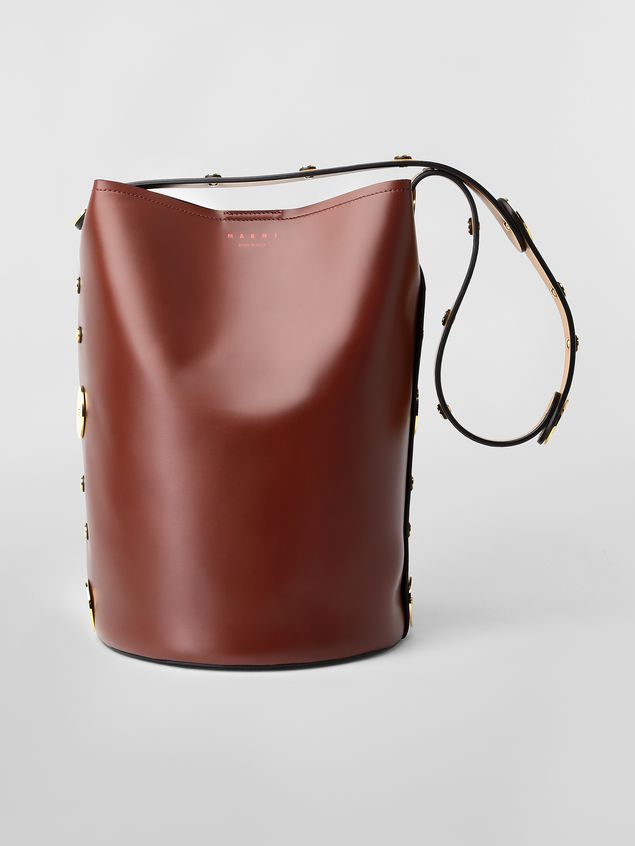 Marni PUNCH bag in brown, yellow and black leather  Woman - 1