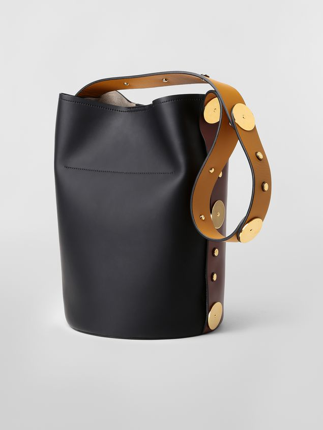 Marni PUNCH bag in brown, yellow and black leather  Woman - 3