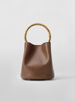 Marni PANNIER bag in brown leather with gold-tone handle Woman