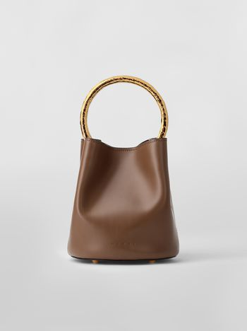 Marni PANNIER bag in brown leather with gold-tone handle Woman f