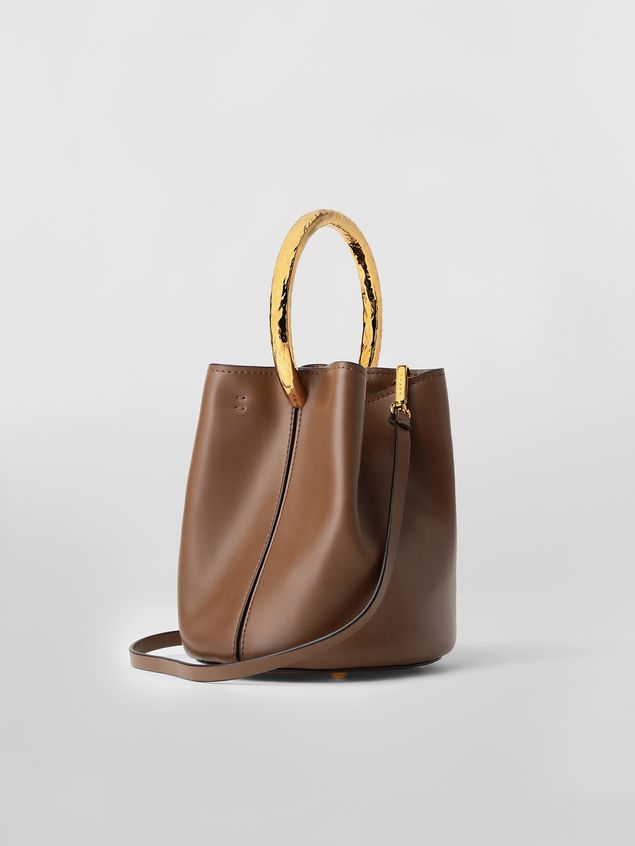 Marni PANNIER bag in brown leather with gold-tone handle Woman - 3