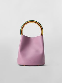 Marni PANNIER bag in pink leather with multicolored handle Woman