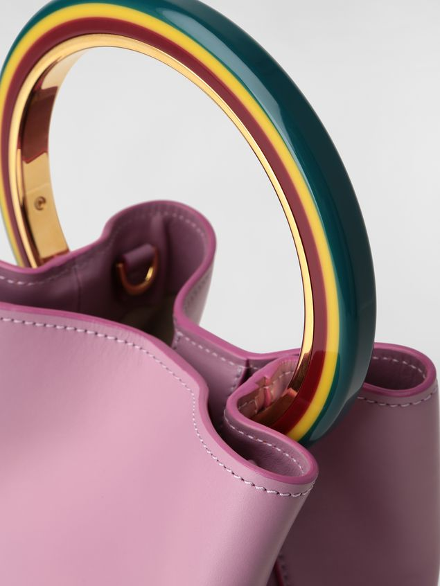 Marni PANNIER bag in pink leather with multicolored handle Woman - 5