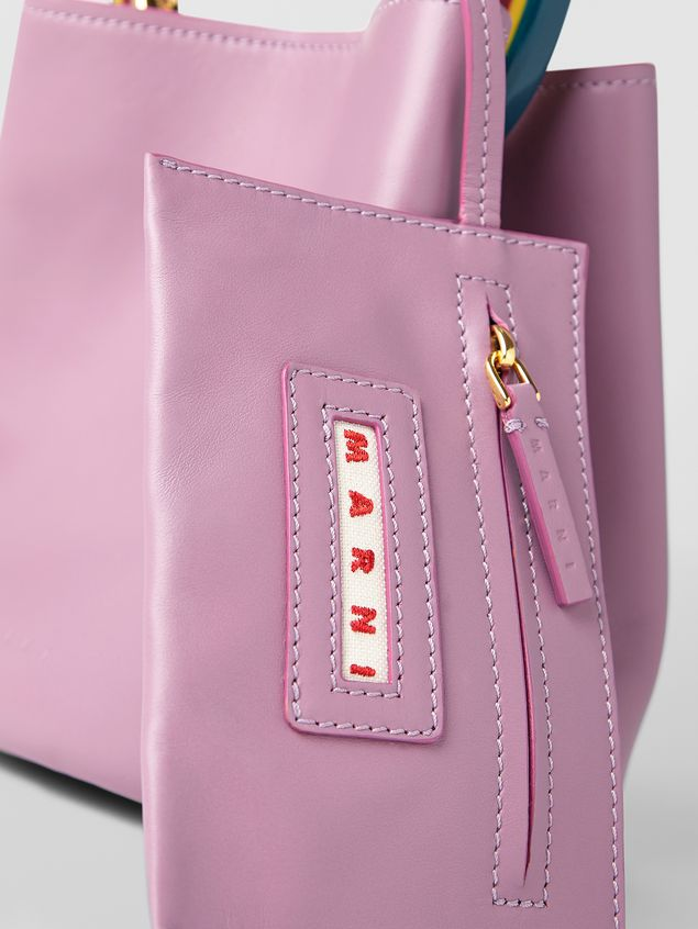 Marni PANNIER bag in pink leather with multicolored handle Woman - 4
