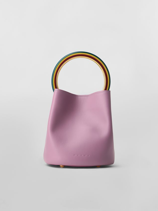 Marni PANNIER bag in pink leather with multicolored handle Woman - 1