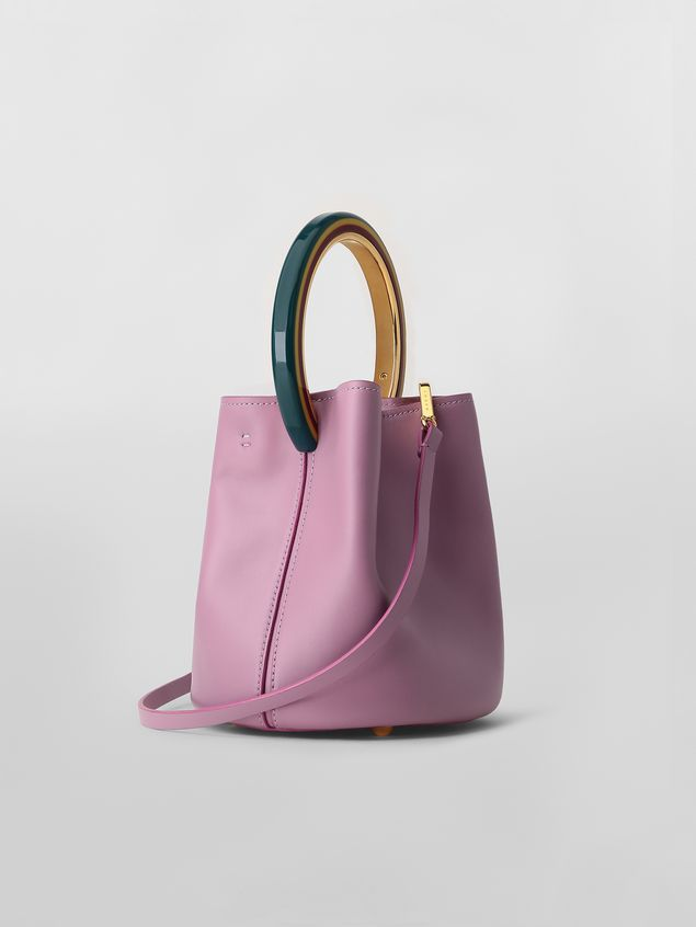 Marni PANNIER bag in pink leather with multicolored handle Woman - 3