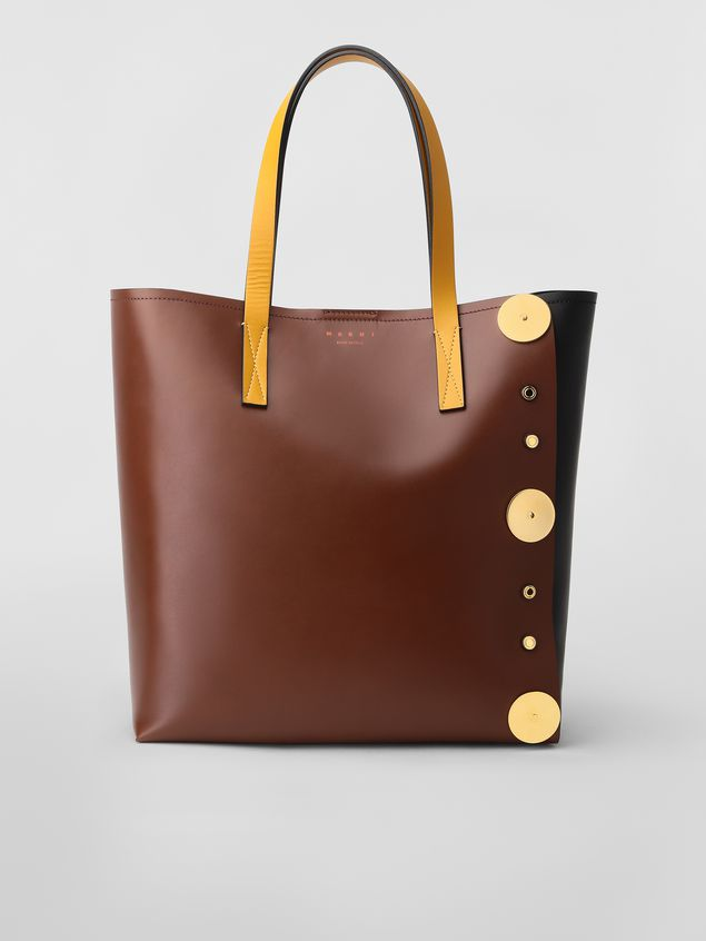 Marni PUNCH bag in brown, black and yellow leather  Woman - 1