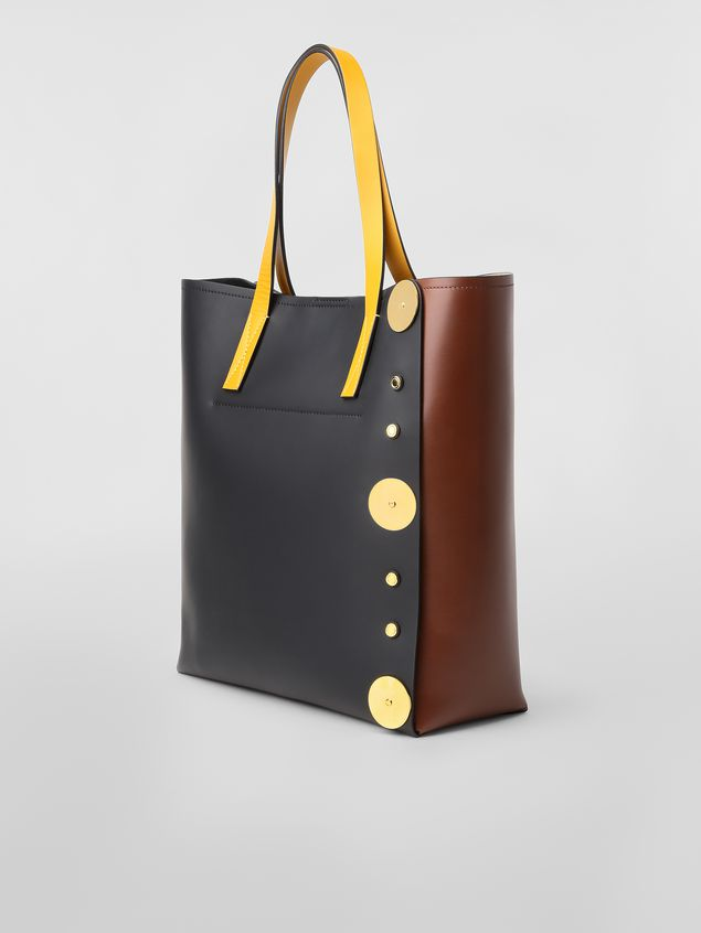 Marni PUNCH bag in brown, black and yellow leather  Woman - 3