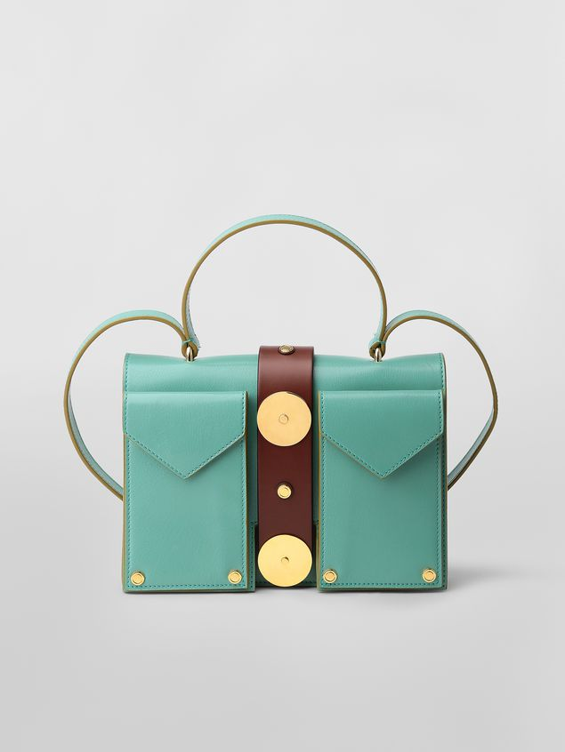 Marni PUNCH bag in green and brown leather  Woman - 1