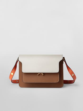 Marni TRUNK bag in calfskin grey brown and orange Woman