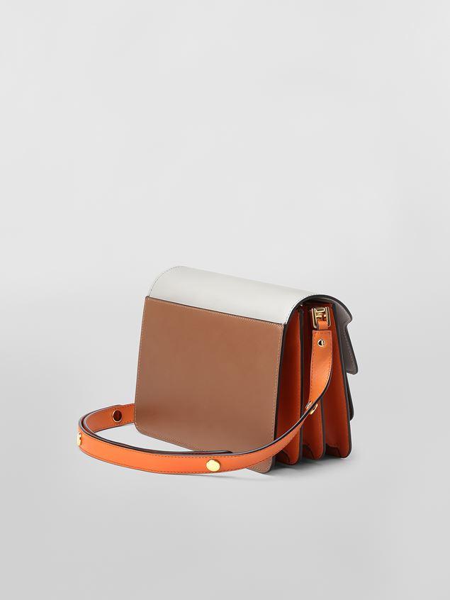 Marni TRUNK bag in calfskin grey brown and orange Woman