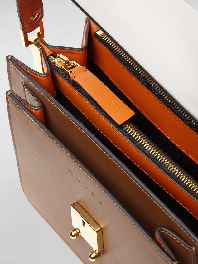 Marni TRUNK bag in calfskin grey brown and orange Woman - 5