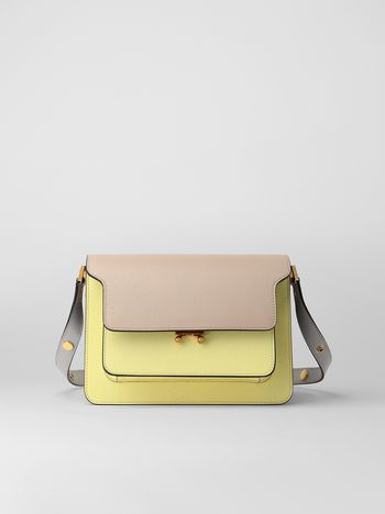 Marni TRUNK bag in saffiano calfskin tan yellow and grey Woman