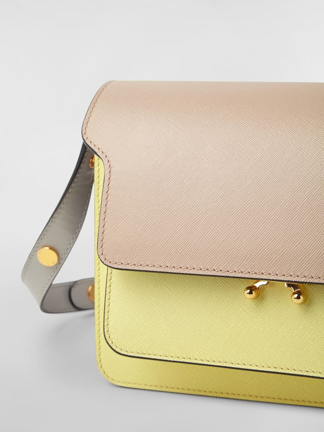 MARNI Trunk Bag Woman TRUNK bag in tan, yellow and gray saffiano calfskin a