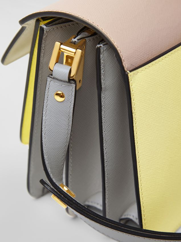 Marni TRUNK bag in tan, yellow and gray saffiano calfskin  Woman - 4