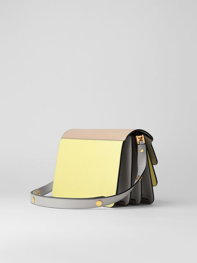 Marni TRUNK bag in tan, yellow and gray saffiano calfskin  Woman - 3