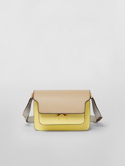 Marni TRUNK minibag in tan, yellow and gray saffiano leather  Woman
