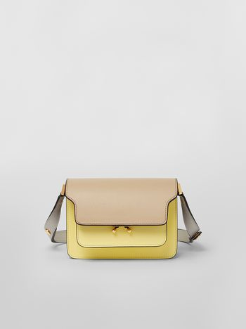 Marni TRUNK minibag in saffiano leather tan yellow and grey Woman f