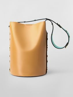 Marni PUNCH bag in  brown, red and green leather Woman