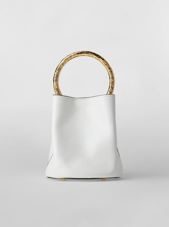 Marni PANNIER bag in white leather with gold-tone handle Woman f