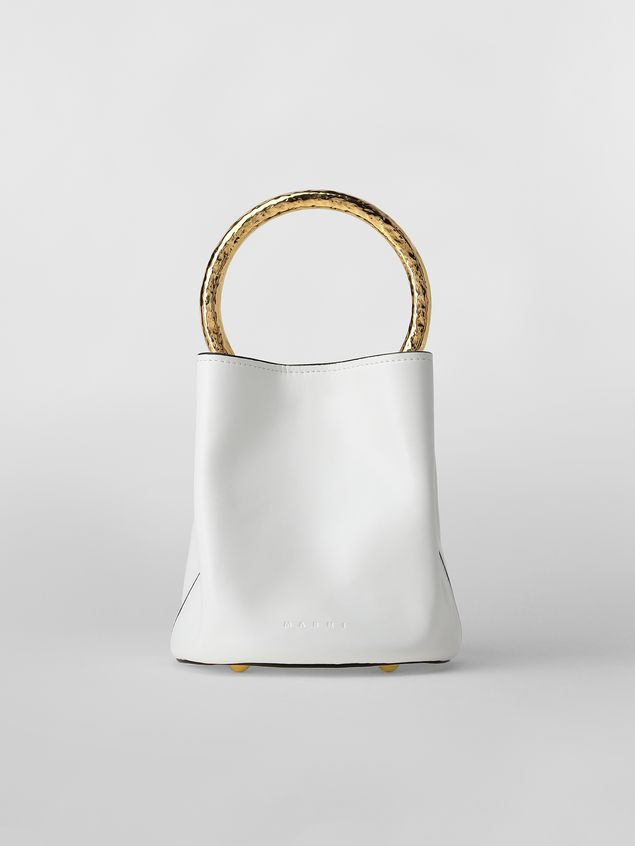 Marni PANNIER bag in white leather with gold-tone handle Woman - 1