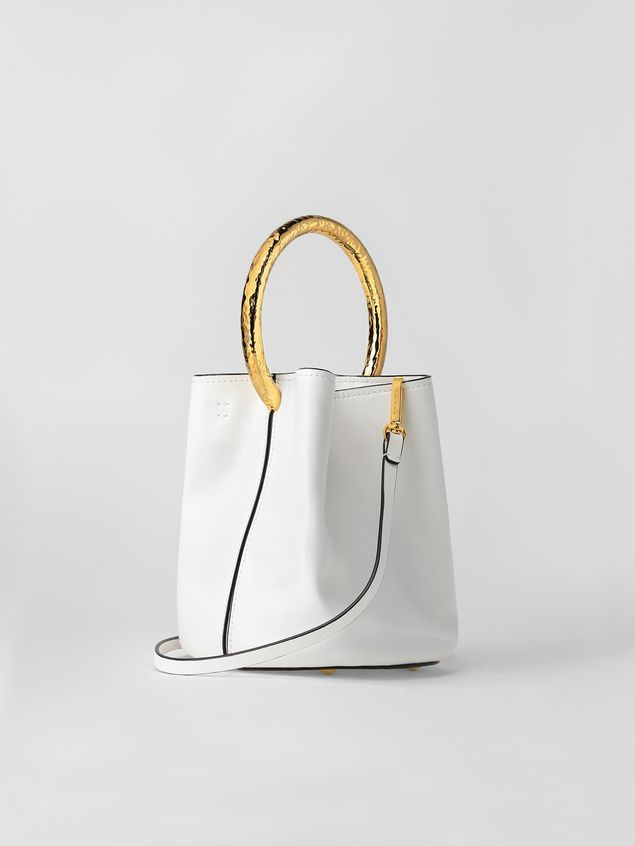 Marni PANNIER bag in white leather with gold-tone handle Woman - 3