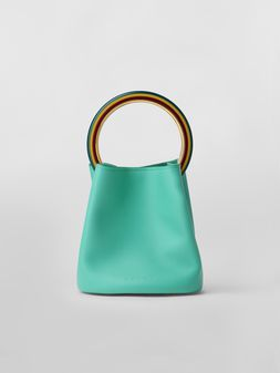 Marni PANNIER bag in green leather with multicolored handle Woman