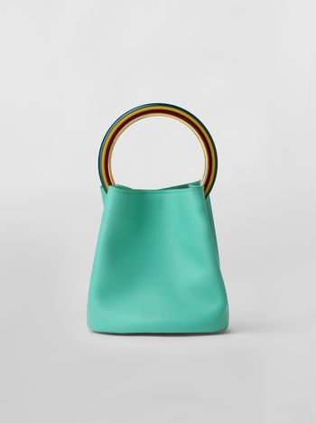 Marni PANNIER bag in green leather with multi-coloured handle Woman
