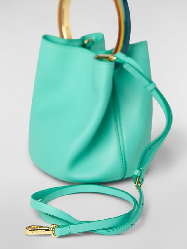 Marni PANNIER bag in green leather with multicolored handle Woman - 4