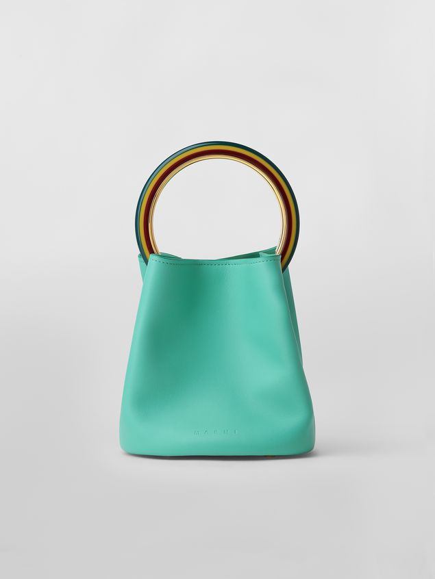 Marni PANNIER bag in green leather with multicolored handle Woman - 1