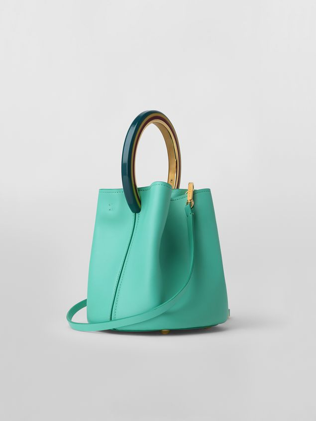 Marni PANNIER bag in green leather with multicolored handle Woman - 3