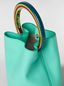Marni PANNIER bag in green leather with multicolored handle Woman - 5
