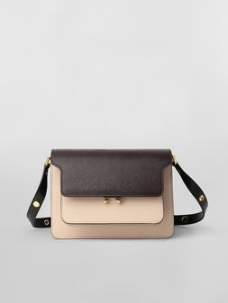 Marni TRUNK bag in saffiano calfskin brown tan and black Woman