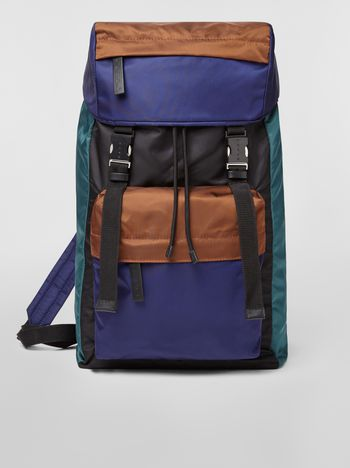 Marni Backpack in nylon brown green black and blue Man f