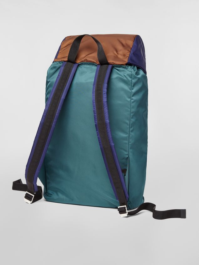 Marni Backpack in nylon brown green black and blue Man - 3