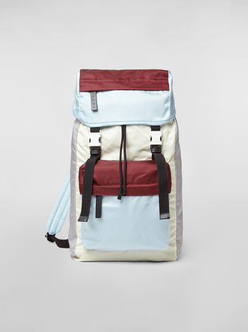 Marni Backpack in nylon burgundy yellow gray and pale blue Man f